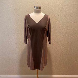 NWOT Velvet taupe pleather / modal 3/4 dress L